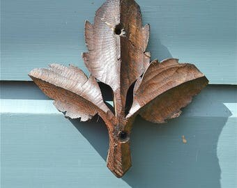 Original antique carved oak leaves from an English church screen or alter C1