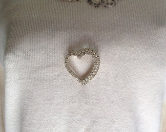 Rhinestone Heart Brooch Pin