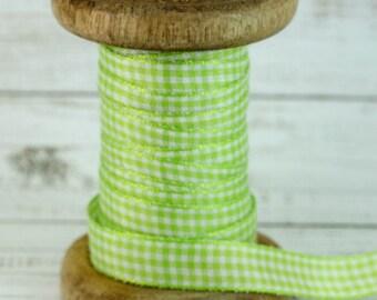 10mm Lime Green Gingham Ribbon
