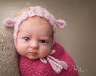 Cute lamb crochet hat newborn photo prop