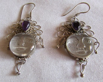 Sterling Silver Dangle Wire Earrings with Amethyst and Clear carved Moon Face