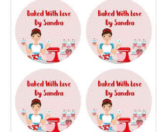 Baked with love packaging stickers, retro kitchen stickers comes in round or square, perfect as baked goods label - dark brown hair