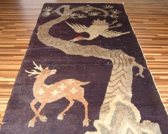 Antique China carpet animal pattern 135 x 68 cm