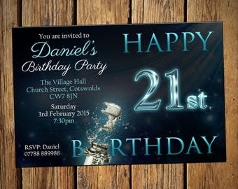 All Ages Birthday Personalised Party Invitations Champagne Blue