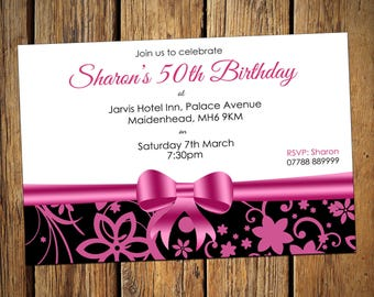 50th Birthday Personalised Party Invitations Pink Bow