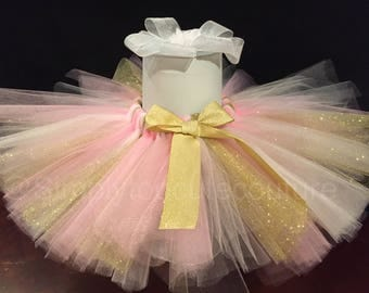 Pink and Glitter Gold Tutu, Birthday Tutu, Smash cake Tutu, Birthday outfit, 1st birthday outfit, Pink and Gold Tutu, girls birthday outfit