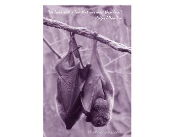 Gothic love card,  Gothic bat card, Edgar Allan Poe, We loved with a love that was more than love, Annabel Lee