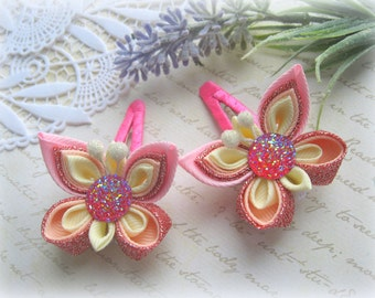 Hair clip pink butterfly Baby snap clip kanzashi Set of 2 hair clip Light pink butterfly headpiece Ribbon butterfly clip for girls Kids hair