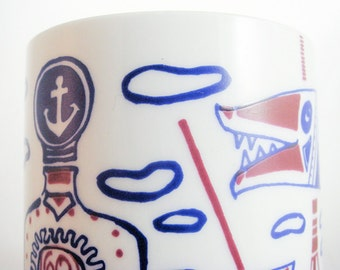 vintage vase GDR 70s drinking cup sailing ship anchor 60s 70s gin tonic