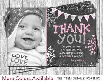 Winter Onederland Thank You Card - Personalized Snowflake Thank You Cards - Pink and Gray Winter Wonderland