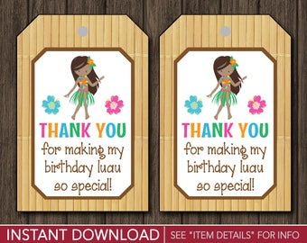 Luau Birthday Favor Tags - Hawaiian Thank You Party Favor Tags - Printable Digital File - INSTANT DOWNLOAD