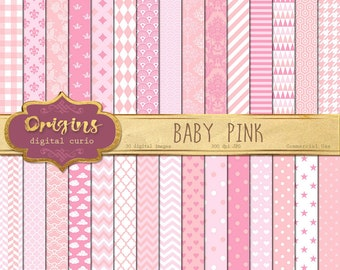 70% OFF Baby Pink Digital Paper, baby shower digital paper, pink backgrounds, baby girl scrapbook patterns instant download commercial use