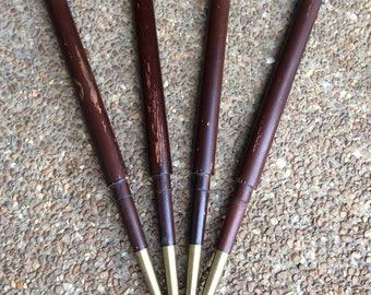Vintage Mid Century Table Legs, Mid Century  Legs, Vintage Table Legs, Brass Caps, Mid Century Furniture  Legs, MCM, Repurpose,