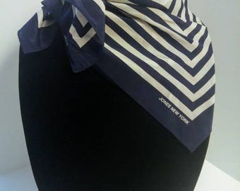 Vintage Jones New York Navy and White Striped Square Scarf