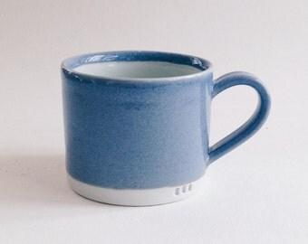 blue porcelain mug, wheelthrown minimalist porcelain coffee cup, bright handmade ceramic teacup, pottery cappuccino mug