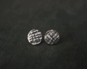 seashell textured pmc stud earrings
