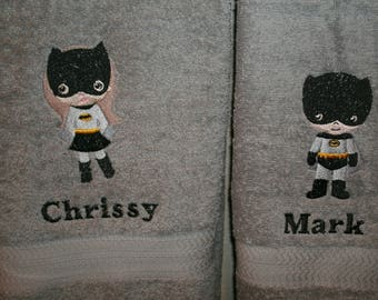 Batman and Batgirl His Hers Personalized Bath Towels Set