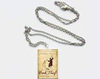 Book thief mini book necklace
