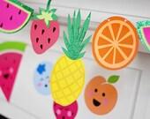Tropical Fruit Banner, Tutti Frutti Cut Out Glitter Banner, Pineapple, Watermelon, Strawberry, Fruity Fiesta Garland, Summer Decor 1 Banner