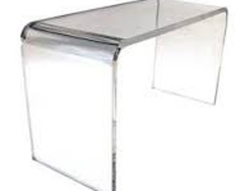 Vintage Clear Acrylic/Glass/Lucite Table/Console/Entry Waterfall Table