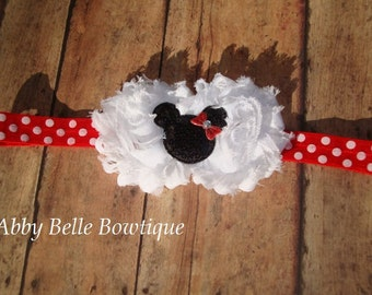 Minnie Mouse Headband,Minnie Mouse Polka Dot Headband,Baby Toddler Girls Hair Accessory,Girl Hair Band,Shabby Chic,Photo Prop,Mickey Mouse