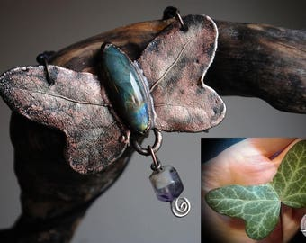 Ivy leaf Butterfly rebirth-turned into copper with labradorite and Amethyst