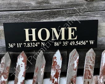 Home Latitude and Longitude Sign | Gallery Wall Sign | Housewarming  Sign | Housewarming  Gift