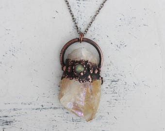 Raw Electroformed Rainbow Aura Citrine Crystal & Labradorite Boho Hippy Gypsy Pendant/Necklace in Rustic Copper