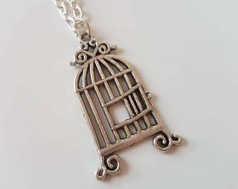 SALE Birdcage Pendant Necklace, Bird Necklace, Birdcage Necklace, Bird Jewellery, Freedom Necklace