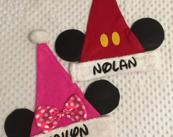 Mouse inspired Santa Christmas stocking caps hats - Personalized
