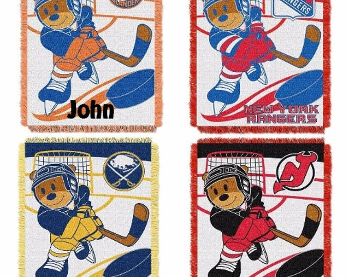 Personalized HOCKEY Teddy Bear Blanket Throw New York Rangers Devils Sabres Islanders NHL Teams - Monogrammed