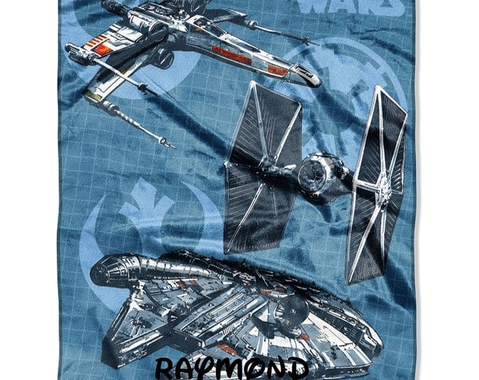 "Star Wars ""Starships"" Micro Raschel 40"" x 50"" Silk Touch Throw Blanket - Personalized"