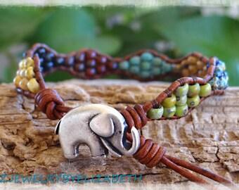 Elephant Bracelet/ Seed Bead Bracelet/ Leather Wrap Bracelet/ Beaded Leather Wrap/ Elephant Jewelry/ Multi-color Boho Wrap Bracelet.