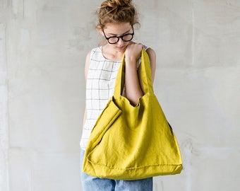 Large linen tote bag / linen beach bag / linen shopping bag in greenish mustard