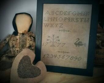 Cross Stitched Schoolgirl Framed Sampler
