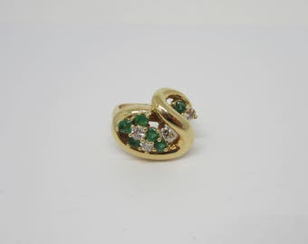 Ladies Emerald and Diamond Ring, Pinky Ring, May Birthstone Ring, Cluster Ring