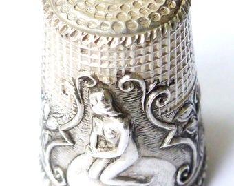 Vintage Sterling Silver Mermaid Thimble