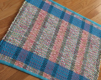 Small Pink & Turquoise Loom Woven Rag Rug, Kitchen Rag Rug, Dorm Rug, RV Rag Rug, Door Mat, Chindi Rugs, Woven Rug, Bath Mat, Ready to Ship