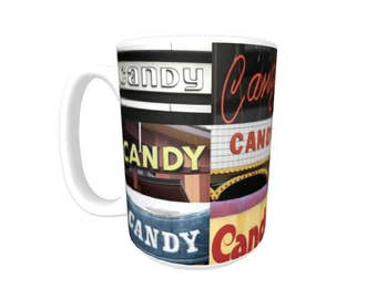 Personalized Coffee Mug featuring the name CANDY in photos of signs; Ceramic mug; Unique gift; Coffee cup; Birthday gift; Coffee lover