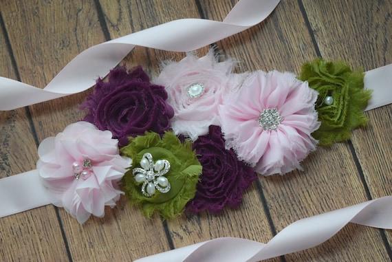 Maternity Sash belt, light pink garden dream Sash #2,  flower Belt, maternity sash