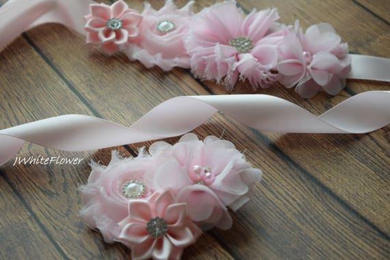 Flower Sash,  small baby pink  Sash with clip , flower Belt, maternity sash, wedding sash, maternity sash girl, flower girl sash