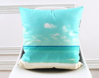 Decorative pillow cover/ sky sea sand  cushion cover/  baby blue pillow throw/Euro pillow sham