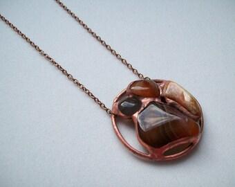 Agate pendant made according to Tiffany technique