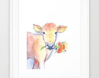 Cow Watercolor- DIGITAL Download - farm animal nursery - animal nursery print - cow nursery art
