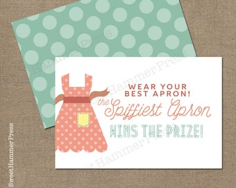 Wear Your Best Apron card inserts for Kitchen Bridal Shower Apron Game Cards Shower Games Bridal Shower Games Apron Shower Game