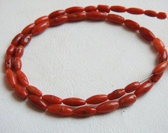 "CORAL 1.Strand 14"" Smooth Fancy Tube Shape Beads 8x4 To 5x3 mm Approx 100% Natural Beautiful Quality Discounted Price New (bk)"