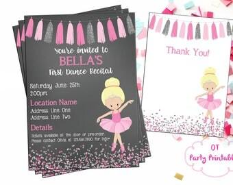 Ballet Recital Invitation - Dance Digital Invite - Ballerina Dance Invitation - Dance Invitation - You Print - Pink Silver Ballet Invitation