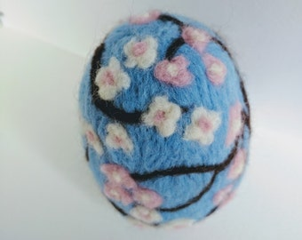 Sakura Cherry Blossom Easter Egg felt sculpture