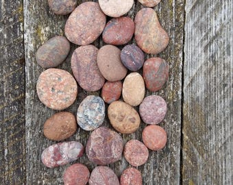 beach pebbles flat round pink sea stones seaside smooth rocks supplies natural genuine stone coastal wedding supply simple rustic home decor