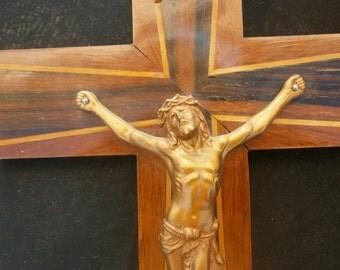 French vintage wooden crucifix, religious artifact, Jesus, Virgin Mary, Lourdes, cross, Catholic, INRI